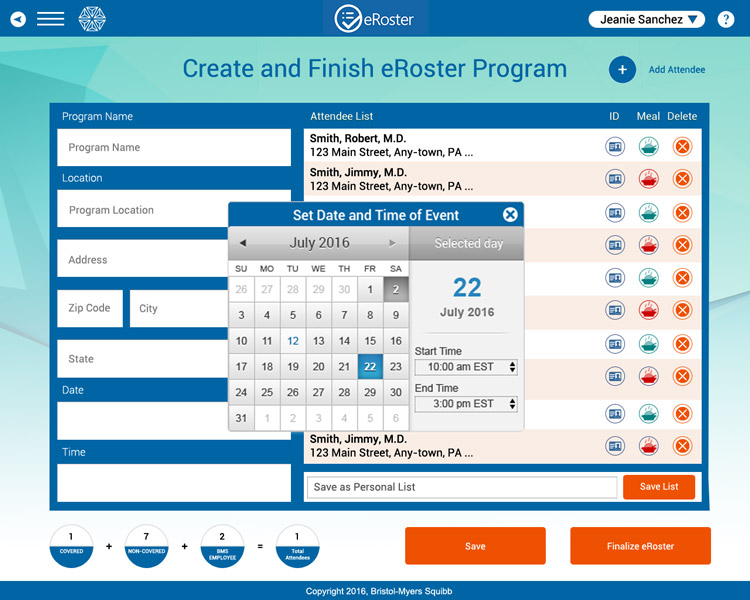 BMS Create and Finish eRoster Program Screen