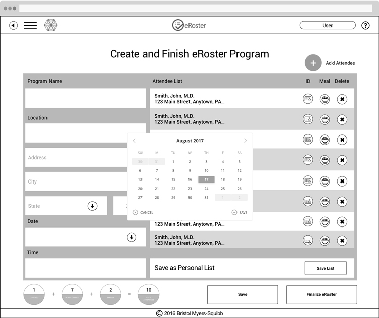 Create and Finish eRoster Wireframe