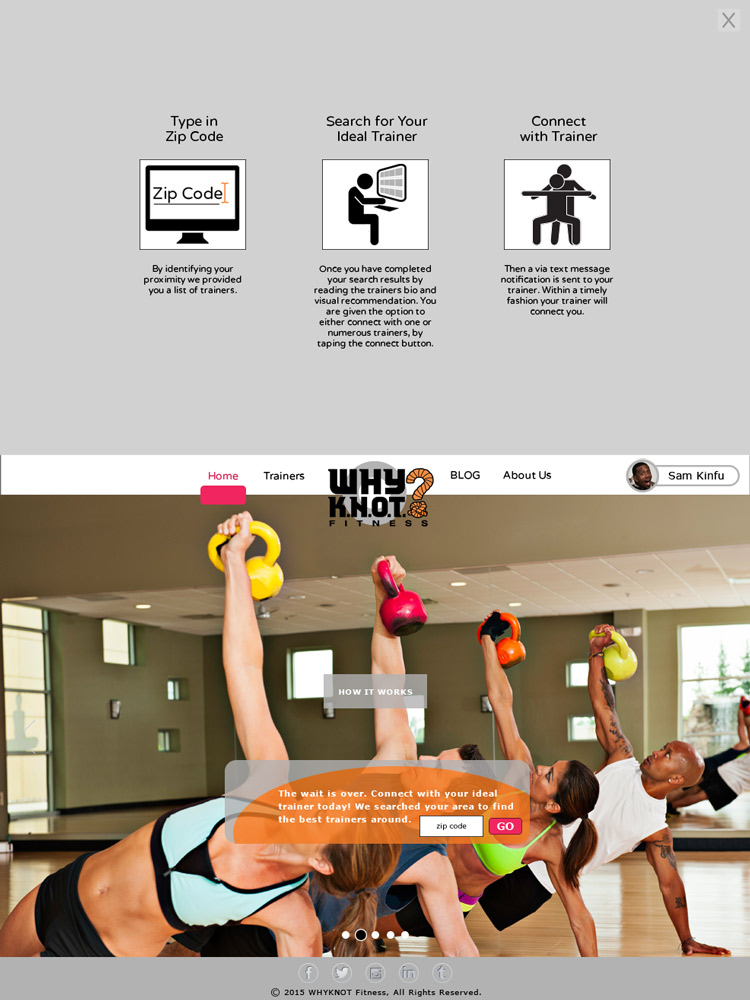 WhyKnot Fitness Home Screen